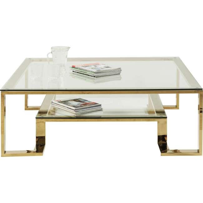 Priser på KARE DESIGN Gold Rush sofabord - glasplade og guld stål (120x120)