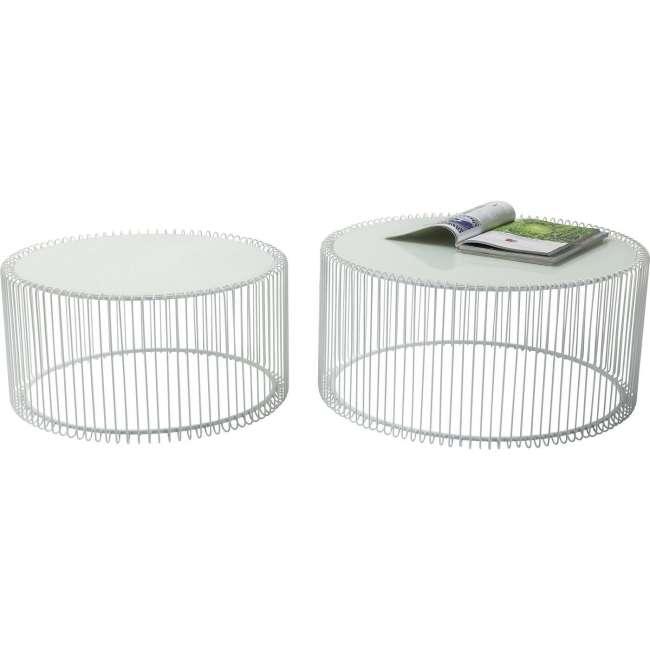 Priser på KARE DESIGN Wire White sofabord - hvidt glas/stål, rundt (2/sæt)