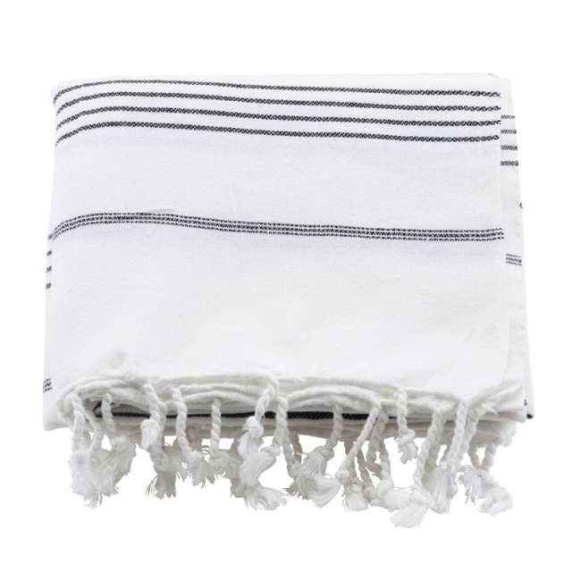 Priser på Meraki Hammam Badehåndklæde Hvid & Sort Stribe