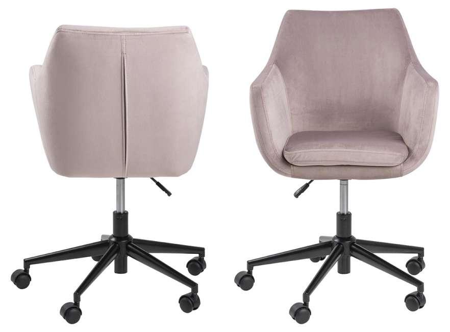 Køb Nora skrivebordsstol rosa stof og sort, m. her