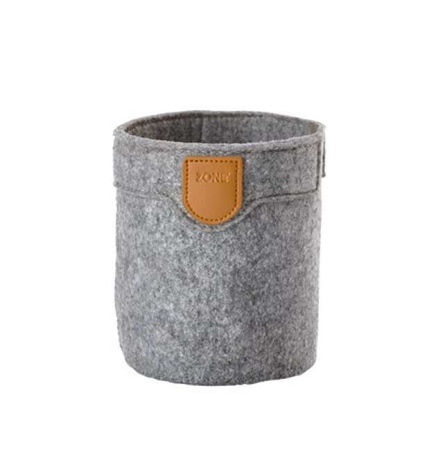 Priser på Zone Denmark Kurv - Grey - Stk. - Craft - Filt - PU - D 10,0cm - H 12,0cm - Hangtag